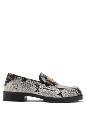1017 ALYX 9SM - Logo-embellished Snake-print Leather Penny Loafers - Mens - Dark Brown