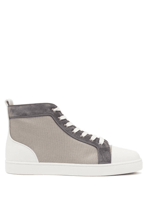 Christian Louboutin - Louis Orlato Leather-trim Mesh High-top Trainers - Mens - Grey Multi