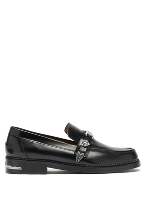 Toga Virilis - Metal-plaque Leather Loafers - Mens - Black
