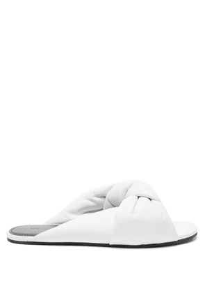 Balenciaga - Drapy Knotted Leather Sandals - Womens - White