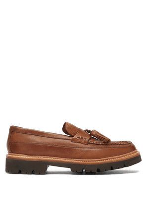 Grenson - Booker Tasselled Grained-leather Loafers - Mens - Walnut