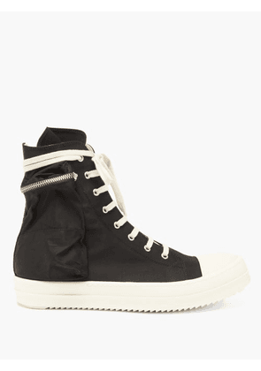 Rick Owens Drkshdw - Scarpe Zip-pocket High-top Canvas Trainers - Mens - Black White