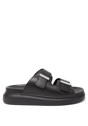 Alexander Mcqueen - Hybrid Leather Sandals - Mens - Black Silver