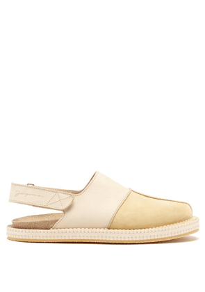Jacquemus - Nubuck And Leather Slingback Shoes - Mens - Light Brown