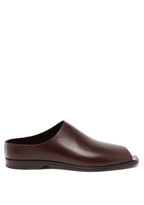 Lemaire - Open-toe Leather Loafers - Mens - Dark Brown