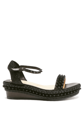 Christian Louboutin - Lata Studded Flatform Leather Sandals - Womens - Black