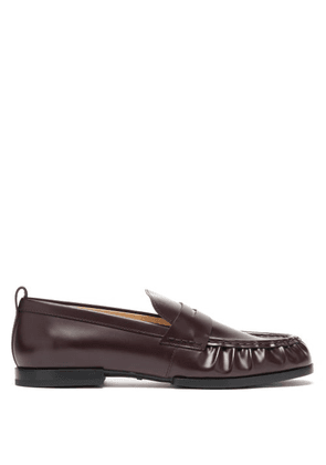 Tod's - Gathered Leather Penny Loafers - Womens - Burgundy