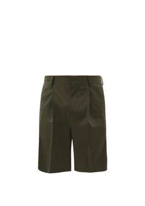 Another Aspect - Single-pleated Wool-blend Shorts - Mens - Green