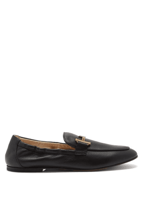 Tod's - T-logo Leather Loafers - Womens - Black