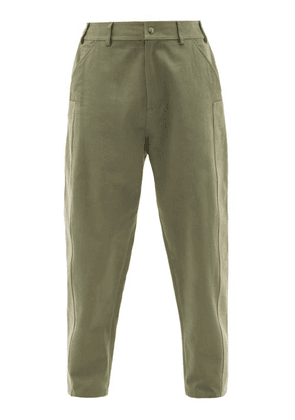 Valentino - Patched Cotton-twill Suit Trousers - Mens - Green