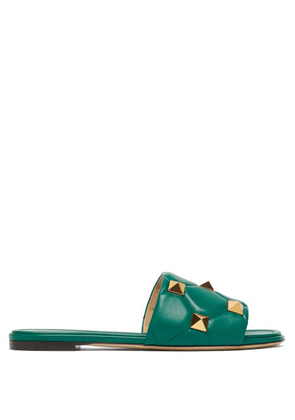 Valentino Garavani - Roman-stud Quilted-leather Slides - Womens - Green
