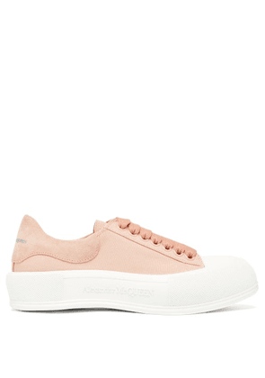 Alexander Mcqueen - Deck Canvas And Suede Trainers - Womens - Light Pink