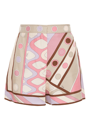 Emilio Pucci Printed Silk-twill Shorts Woman Pink Size 42