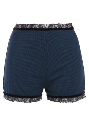 La Perla Lace And Velvet-trimmed Houndstooth Wool-blend High-rise Briefs Woman Storm blue Size 36
