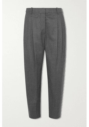 Stella McCartney - Cropped Pleated Wool Tapered Pants - Gray