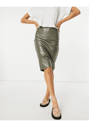 ASOS DESIGN leather look midi pencil skirt in olive-Green