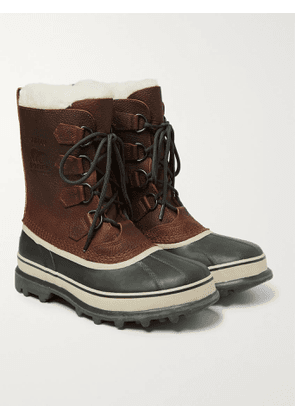 SOREL - Caribou Faux Shearling-Trimmed Waterproof Nubuck and Rubber Snow Boots - Men - Brown