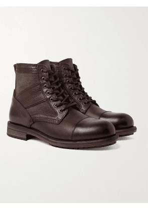 BELSTAFF - Trent Canvas and Full-Grain Leather Boots - Men - Brown