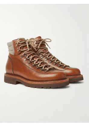 BRUNELLO CUCINELLI - Shearling-Trimmed Leather Hiking Boots - Men - Brown