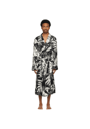 TOM FORD Black and White Silk Twill Robe