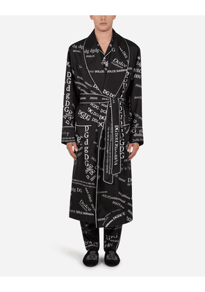 Dolce & Gabbana Loungewear Collection - Silk robe with all-over DG logo print BLACK/WHITE male 54