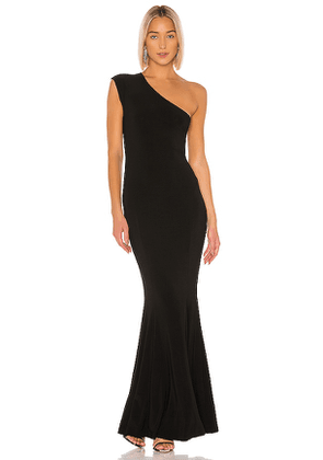 Norma Kamali One Shoulder Fishtail Gown in Black. Size XS.
