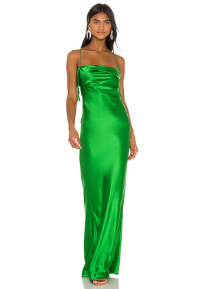 Michelle Mason Ruffle Cowl Bias Gown in Green. Size 2.