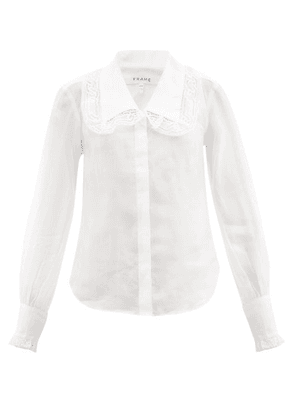 Frame - Lace-trimmed Collar Ramie Blouse - Womens - White