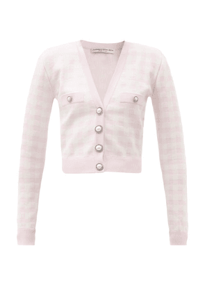 Alessandra Rich - Pearl-button Check Cardigan - Womens - Light Pink