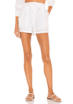 Seafolly Linen Blend Short in White. Size L.