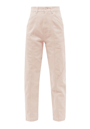 Stella Mccartney - Logo-embroidered High-rise Tapered-leg Jeans - Womens - Light Pink
