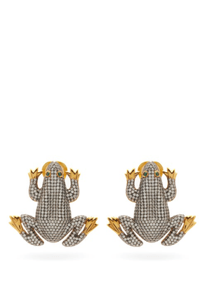 Begum Khan - Prince Frog 24kt Gold-plated Clip Earrings - Womens - Crystal
