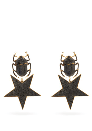 Begum Khan - Pharaoh Faux-onyx & 24kt Gold-plated Clip Earrings - Womens - Black