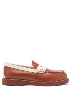 Tod's - Bi-colour Topstitched Leather Loafers - Womens - Tan White