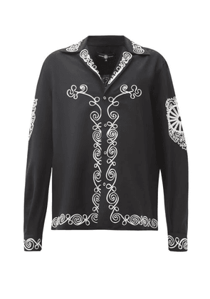 Edward Crutchley - Tape-embroidered Wool-blend Twill Shirt - Mens - Black