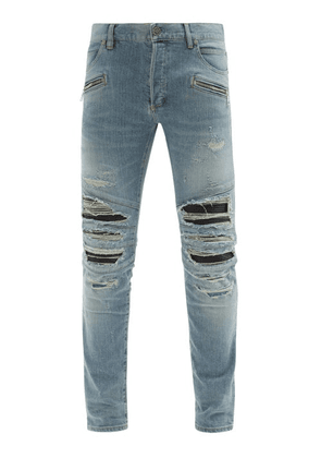 Balmain - Faux Leather-inset Distressed Skinny Jeans - Mens - Blue