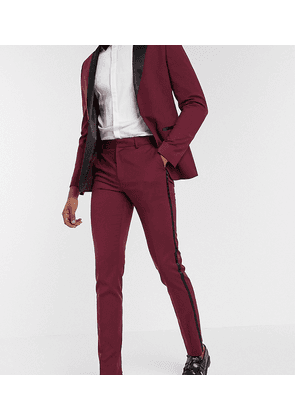 ASOS DESIGN Tall skinny tuxedo suit trousers in burgundy-Red