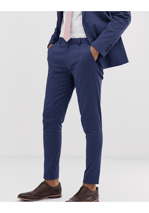 ASOS DESIGN wedding super skinny suit trousers in stretch cotton in indigo blue