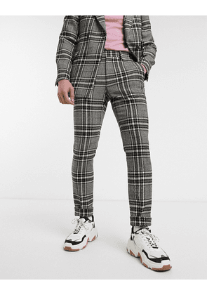 ASOS DESIGN skinny suit trousers in wool mix with rainbow yarn check-Beige