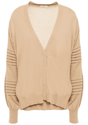 Brunello Cucinelli Bead-embellished Pleated Cotton Cardigan Woman Neutral Size S
