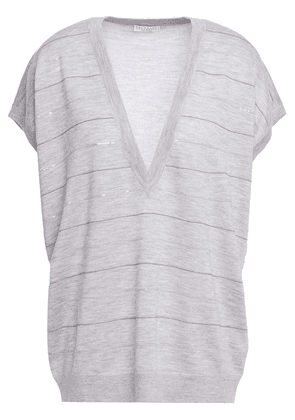 Brunello Cucinelli Bead-embellished Cashmere And Silk-blend Top Woman Light gray Size XS