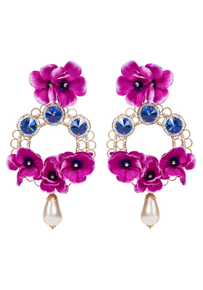 Floral embellished clip-on earrings