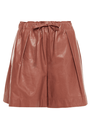 Brunello Cucinelli Pleated Leather Shorts Woman Brown Size 36