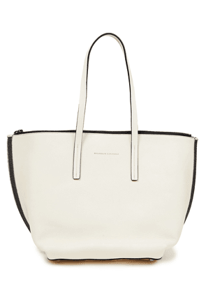 Brunello Cucinelli Bead-embellished Leather Tote Woman Ivory Size --