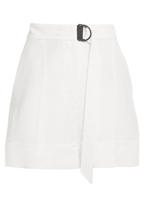 Brunello Cucinelli Belted Bead-embellished Twill Shorts Woman White Size 40