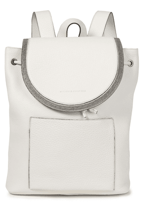 Brunello Cucinelli Bead-embellished Pebbled-leather Backpack Woman Off-white Size --