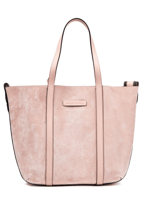Brunello Cucinelli Bead-embellished Leather-trimmed Suede Tote Woman Blush Size --