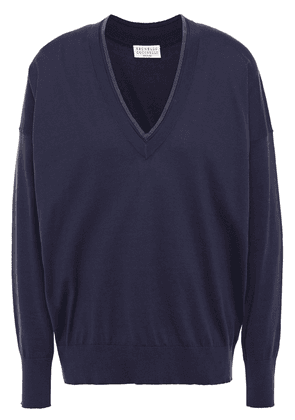Brunello Cucinelli Bead-embellished Cotton Sweater Woman Navy Size S