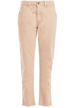 Brunello Cucinelli Leather-trimmed Embellished Frayed High-rise Tapered Jeans Woman Blush Size 40