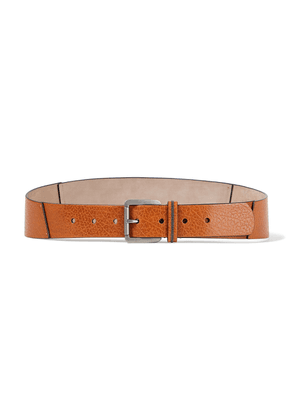 Brunello Cucinelli Bead-embellished Pebbled-leather Belt Woman Camel Size L